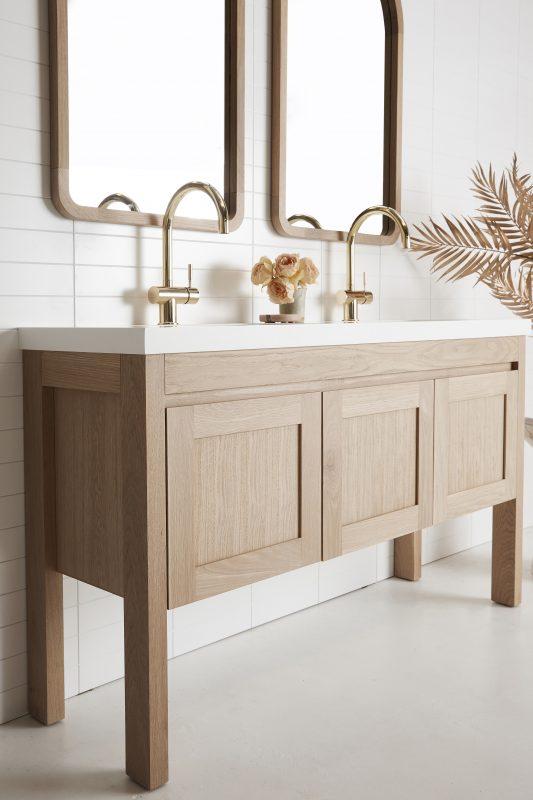 vanity pictured in American Oak light