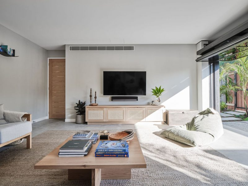 Avalon Square Coffee Table and Pacific Entertainment unit in American Oak Light