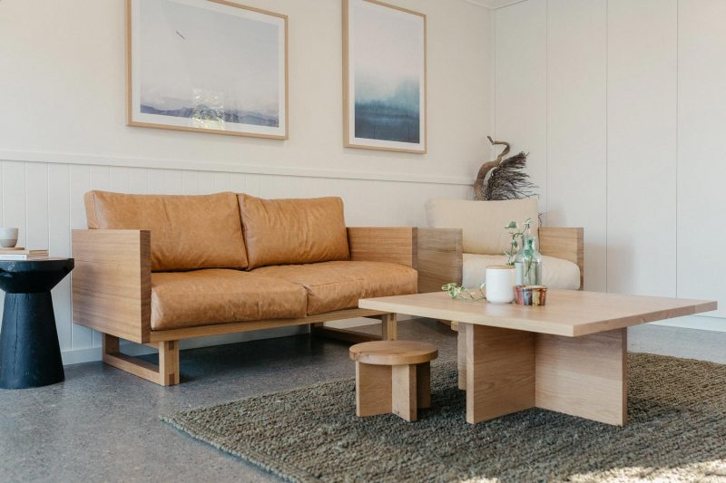 The Harrington two seater Lounge pictured in Tasmanian Oak and Avalon square coffee table in American Oak light