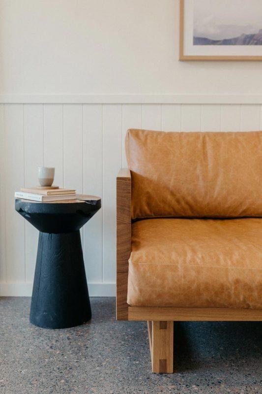 The Harrington Lounge in Tasmanian Oak and Stumpy stool