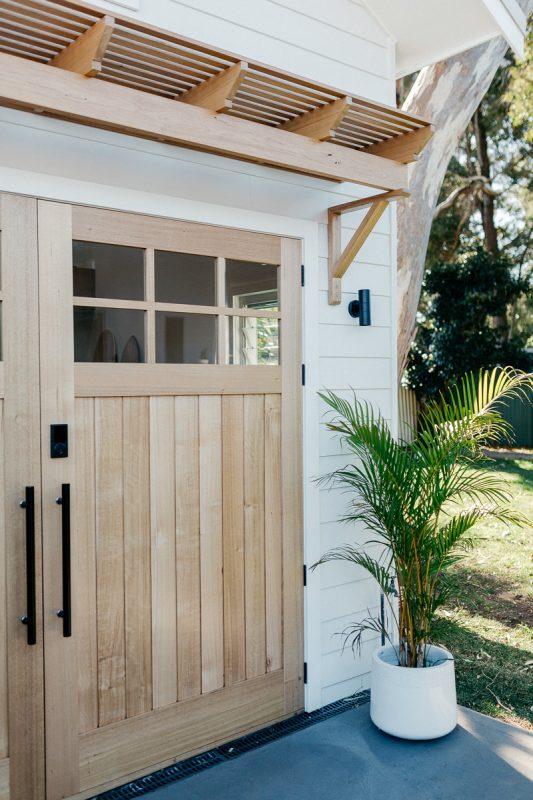 Custom awning to match 'The Avenue' Barn door in Tasmanian Oak