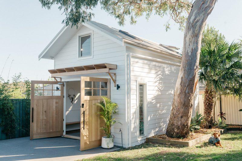 'The Avenue' Barn Door and custom awning in Tasmanian Oak