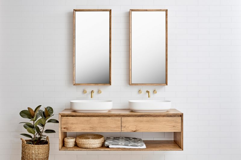 Baxter Double vanity and Bayview Single Shaving Cabinet pictured in American Oak Aged
