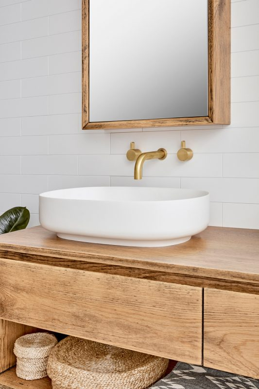 Baxter Double vanity pictured in American Oak Aged