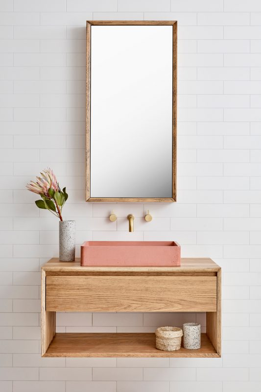 Vanity pictured in Aged American Oak timber