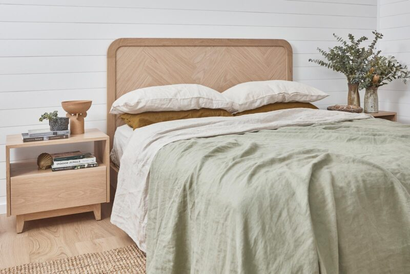 Brooklyn Bed and Norah Bedside both pictured in American Oak Light