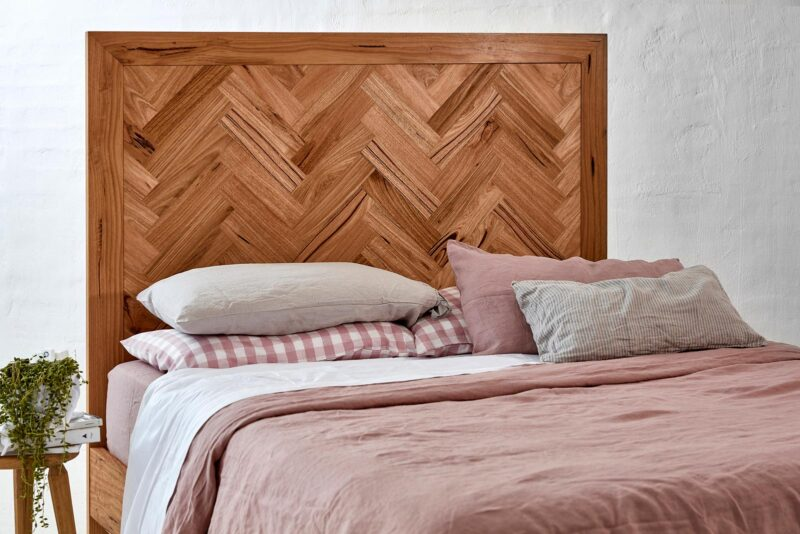 Herringbone Bed pictured in Spottedgum Timber