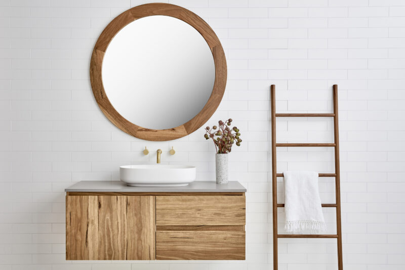Vanity pictured with Ballina mirror in Spottedgum timber