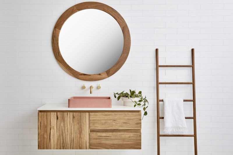 Vanity pictured in Spottedgum timber