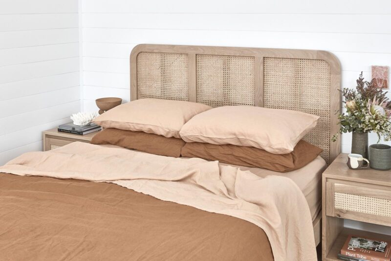 Pacific Rattan Bedhead and Bedsides pictured in American Oak Light