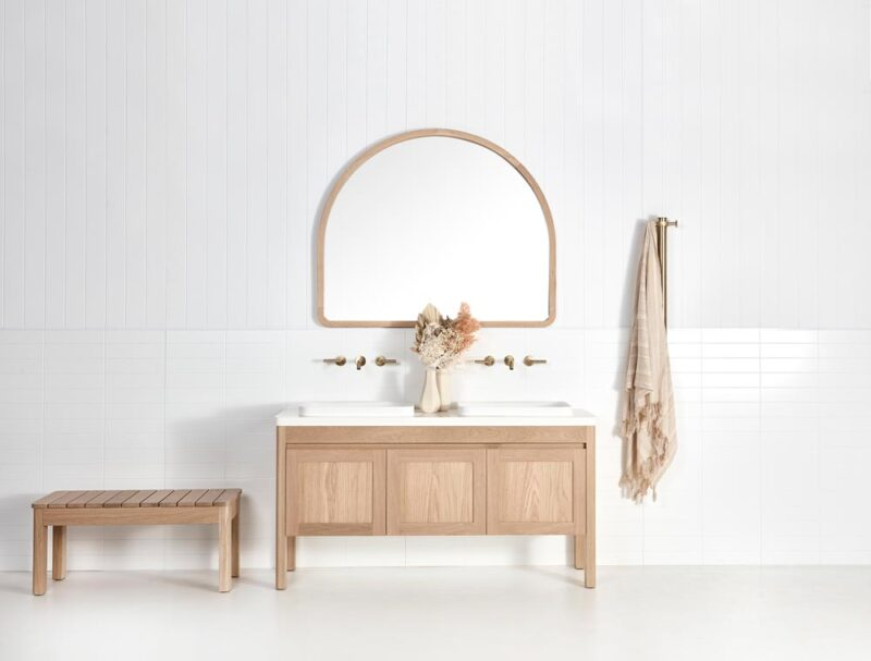 Bench seat pictured with Freo Freestanding vanity and Alura Arch mirror in American Oak light timber