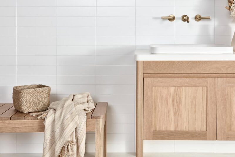 Bench seat pictured with Freo Freestanding vanity in American Oak light