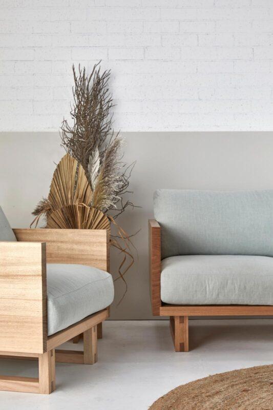 Harrington Armchair in Tasmanian Oak Timber and Seaglass Fabric