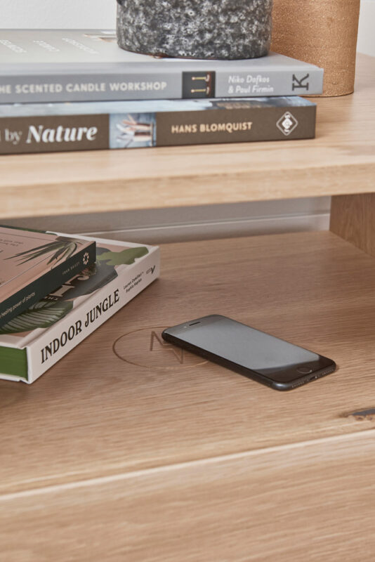 Norah Bedside in Blackbutt timber with in-build charging doc