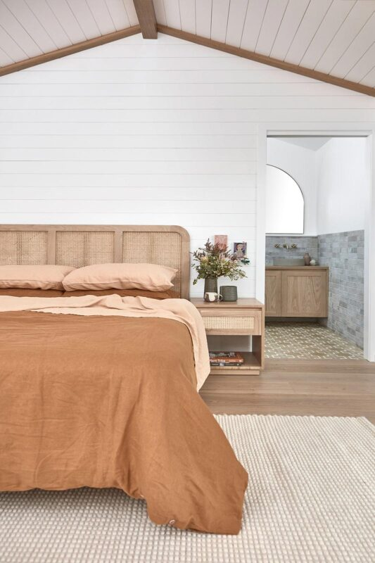 Pacific Bedside pictured in American Oak light