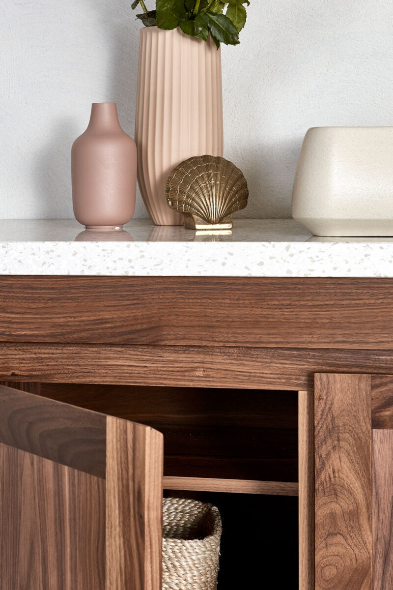 Freo vanity in walnut timber and Terrazzo Top (extra)