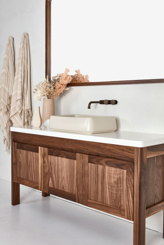 Freo vanity in Walnut timber.